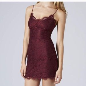 Topshop Burgundy Lace Mini Dress